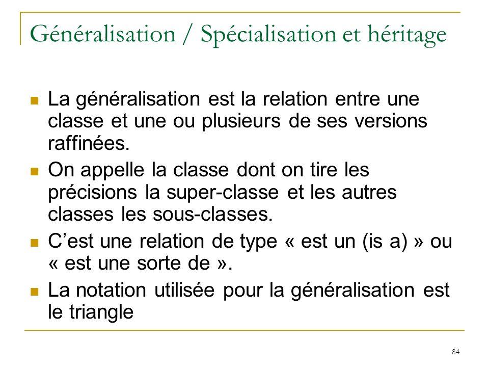 84 Généralisation / Spécialisation et héritage La généralisation est la relation entre une classe et une ou plusieurs de ses versions raffinées. On ap