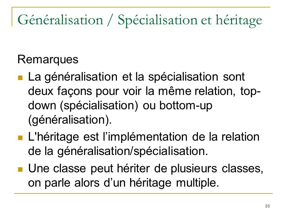 88 Généralisation / Spécialisation et héritage Remarques La généralisation et la spécialisation sont deux façons pour voir la même relation, top- down