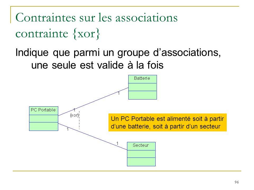 96 Contraintes sur les associations contrainte {xor} Indique que parmi un groupe dassociations, une seule est valide à la fois Un PC Portable est alim