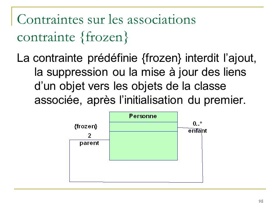 98 Contraintes sur les associations contrainte {frozen} La contrainte prédéfinie {frozen} interdit lajout, la suppression ou la mise à jour des liens