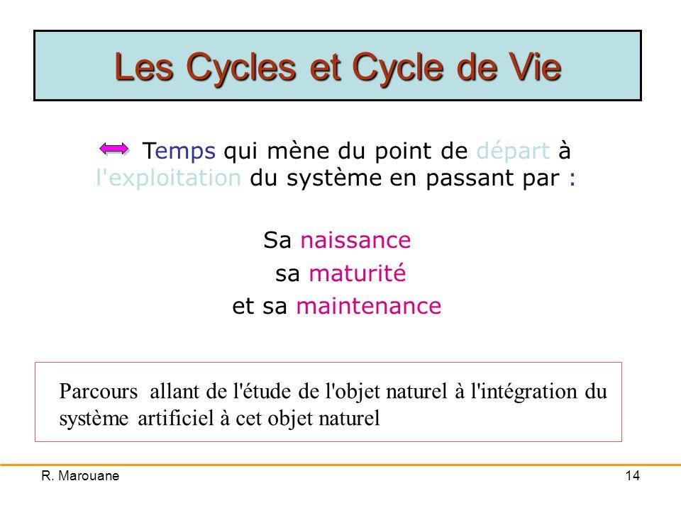 R. Marouane13 Cycle d'abstraction Cycle de décision Cycle de vie Temps Niveau d'abstraction Hiérarchie des décisions Les Cycles et Cycle de Vie