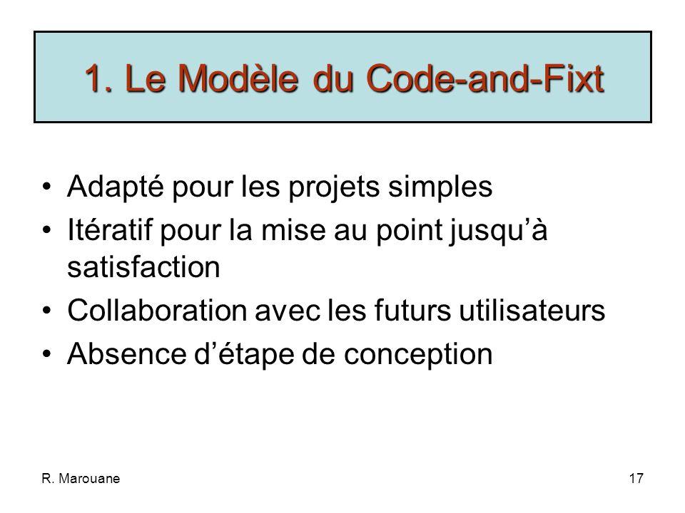 R. Marouane16 Compréhension du Problème Programmation Mise au Point Si non satisfaisant FIN 1. Le Modèle du Code-and-Fixt