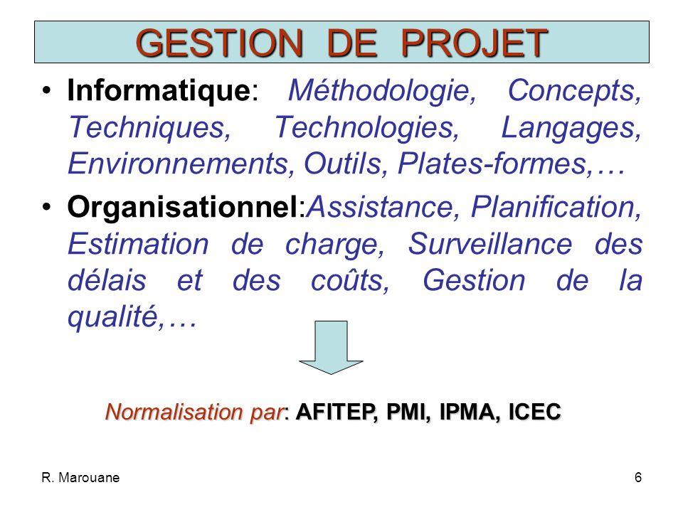 R.Marouane16 Compréhension du Problème Programmation Mise au Point Si non satisfaisant FIN 1.