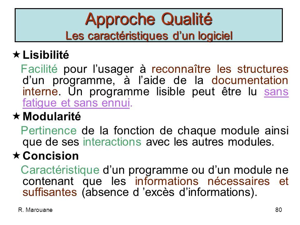 R. Marouane79 Portabilité Facilité avec laquelle un programme peut sadapter à un nouvel environnement. Flexibilité Facilité avec laquelle on peut modi