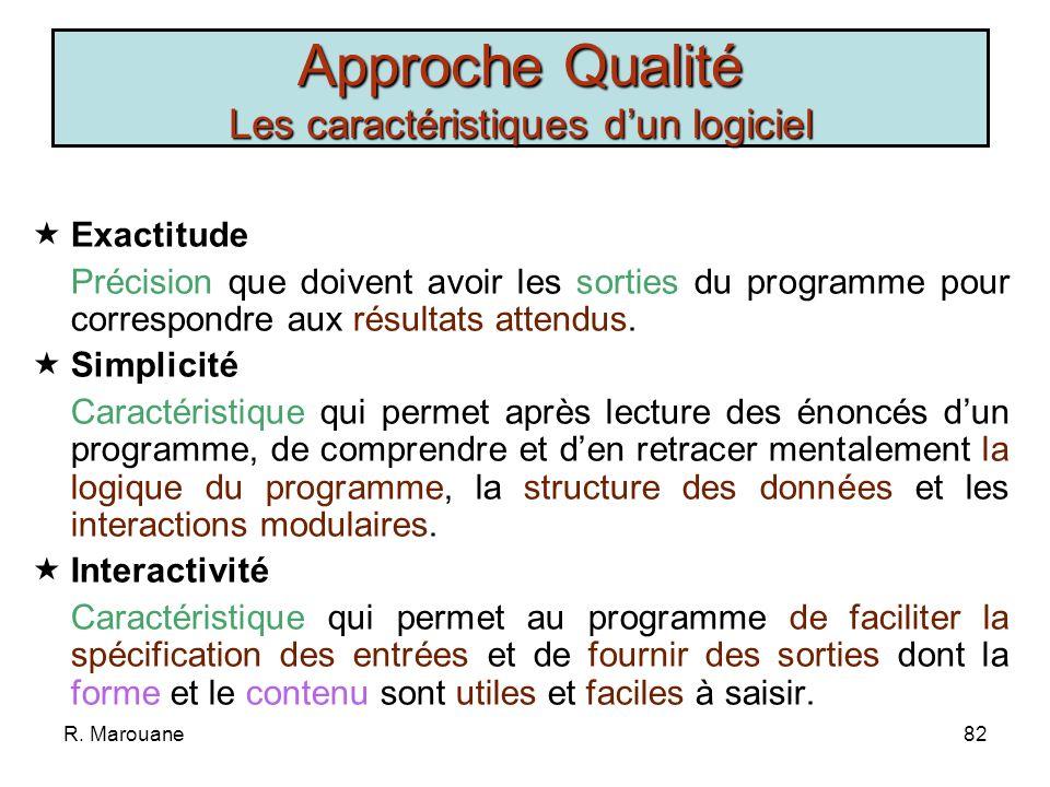 R. Marouane81 Cohérence Interne: Uniformité dun programme dans sa notation, sa terminologie et son symbolisme. Externe: Correspondance entre le conten