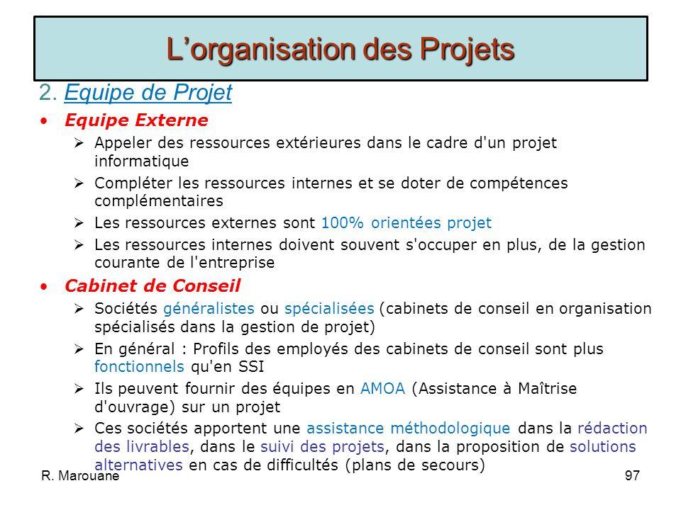 2. Equipe de Projet ETAPES: Déterminer le périmètre du projet Estimer la taille de léquipe à impliquer dans le projet, cest à dire déterminer une enve