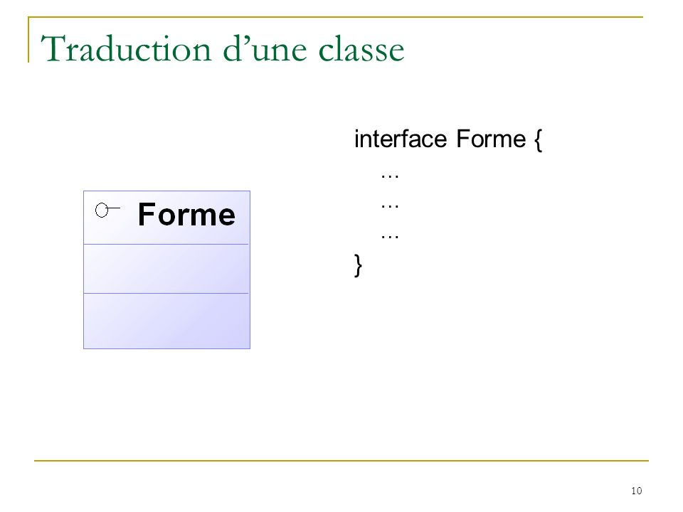 10 Traduction dune classe interface Forme { … }