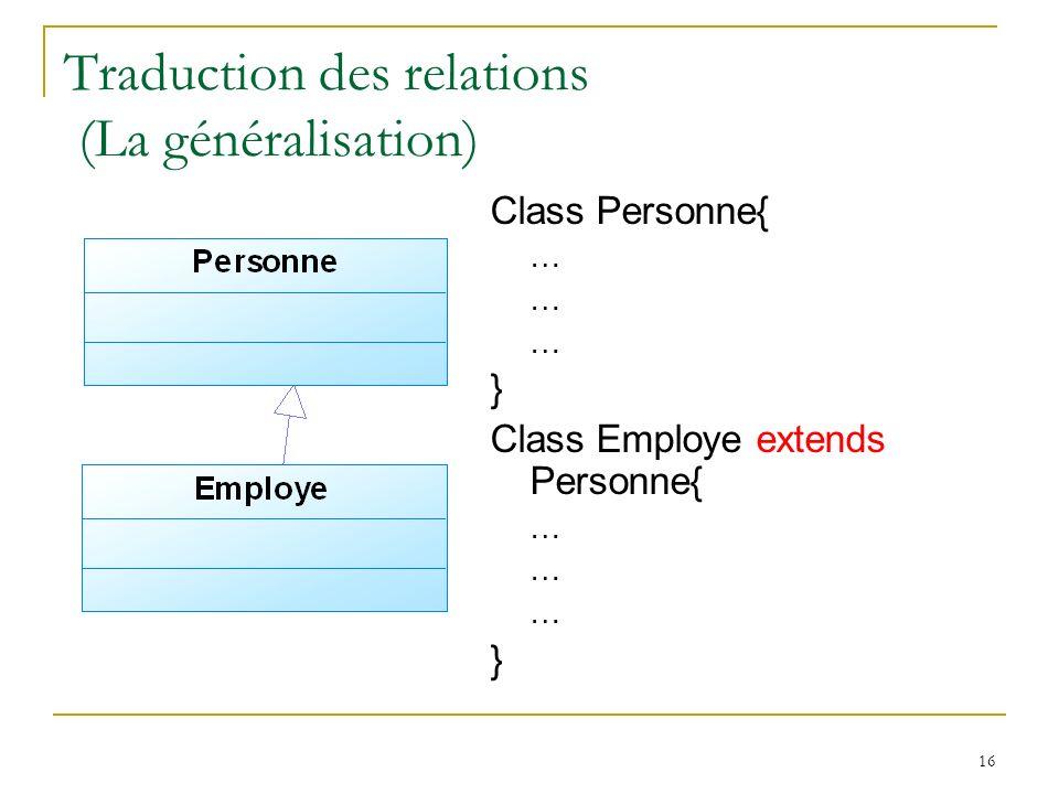 16 Traduction des relations (La généralisation) Class Personne{ … } Class Employe extends Personne{ … }
