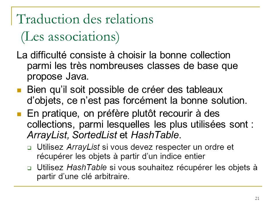 21 Traduction des relations (Les associations) La difficulté consiste à choisir la bonne collection parmi les très nombreuses classes de base que prop