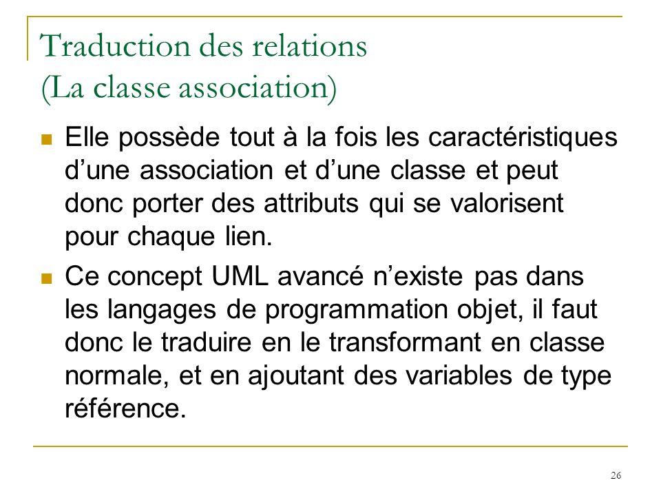 26 Traduction des relations (La classe association) Elle possède tout à la fois les caractéristiques dune association et dune classe et peut donc port