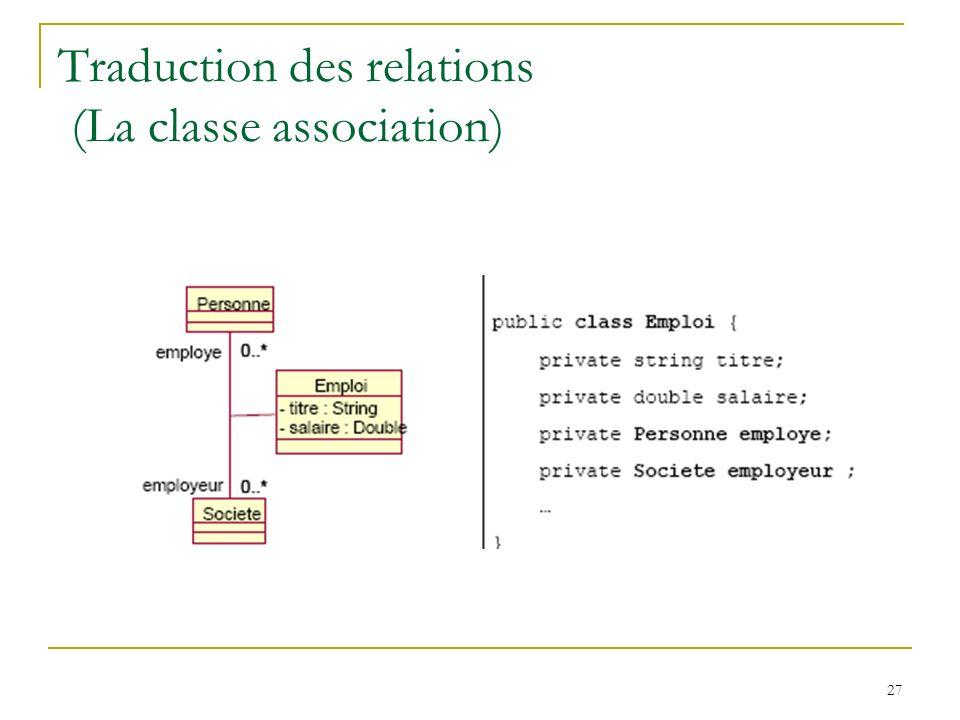 27 Traduction des relations (La classe association)