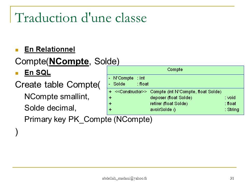 31 abdellah_madani@yahoo.fr 31 Traduction d'une classe En Relationnel Compte(NCompte, Solde) En SQL Create table Compte( NCompte smallint, Solde decim