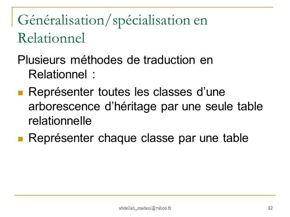 32 abdellah_madani@yahoo.fr 32 Généralisation/spécialisation en Relationnel Plusieurs méthodes de traduction en Relationnel : Représenter toutes les c