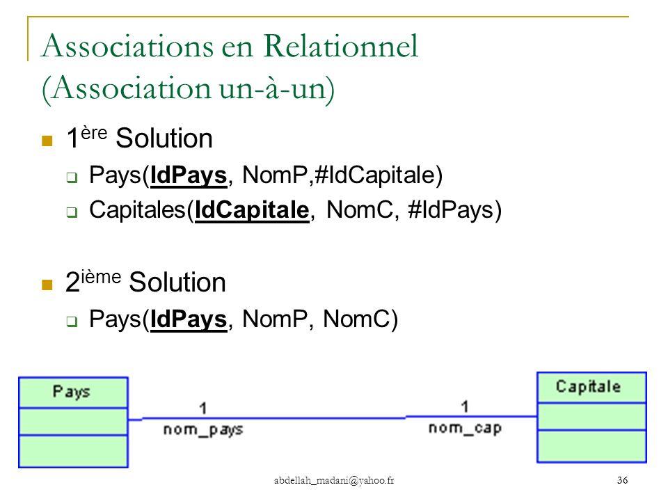 36 abdellah_madani@yahoo.fr 36 Associations en Relationnel (Association un-à-un) 1 ère Solution Pays(IdPays, NomP,#IdCapitale) Capitales(IdCapitale, N