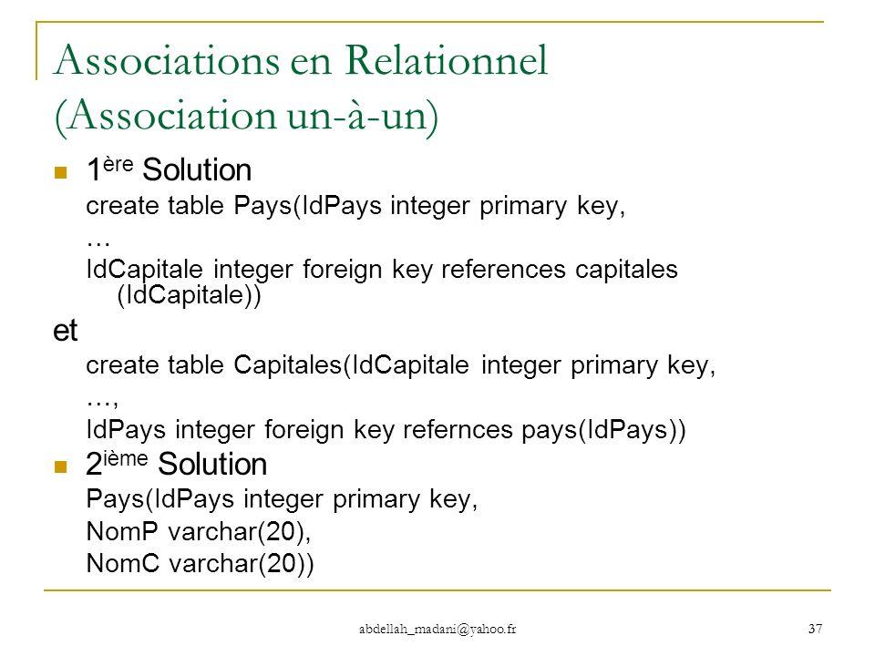 37 abdellah_madani@yahoo.fr 37 Associations en Relationnel (Association un-à-un) 1 ère Solution create table Pays(IdPays integer primary key, … IdCapi