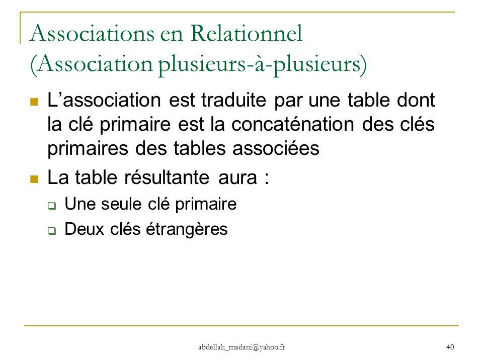 40 abdellah_madani@yahoo.fr 40 Associations en Relationnel (Association plusieurs-à-plusieurs) Lassociation est traduite par une table dont la clé pri