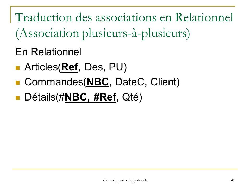 41 abdellah_madani@yahoo.fr 41 Traduction des associations en Relationnel (Association plusieurs-à-plusieurs) En Relationnel Articles(Ref, Des, PU) Co