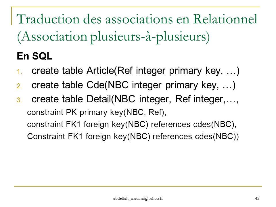 42 abdellah_madani@yahoo.fr 42 Traduction des associations en Relationnel (Association plusieurs-à-plusieurs) En SQL 1. create table Article(Ref integ