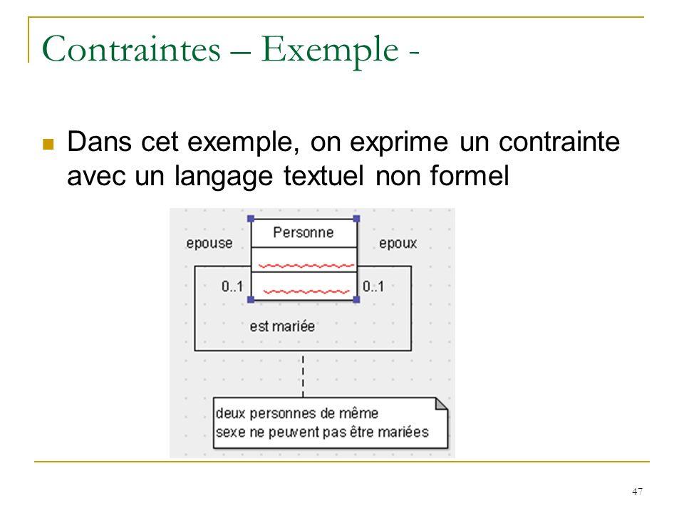 47 Contraintes – Exemple - Dans cet exemple, on exprime un contrainte avec un langage textuel non formel