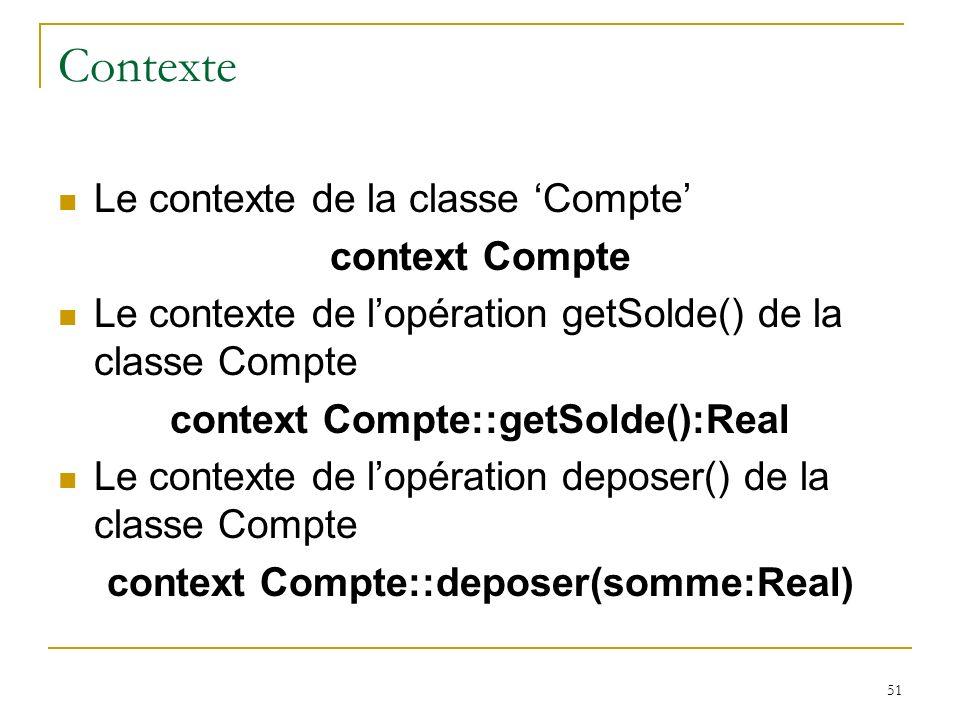 51 Contexte Le contexte de la classe Compte context Compte Le contexte de lopération getSolde() de la classe Compte context Compte::getSolde():Real Le