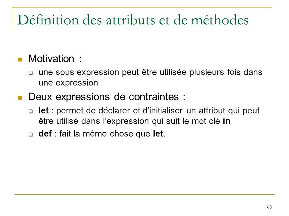 60 Définition des attributs et de méthodes Motivation : une sous expression peut être utilisée plusieurs fois dans une expression Deux expressions de