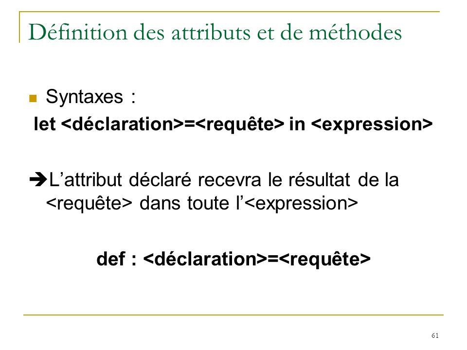61 Définition des attributs et de méthodes Syntaxes : let = in Lattribut déclaré recevra le résultat de la dans toute l def : =