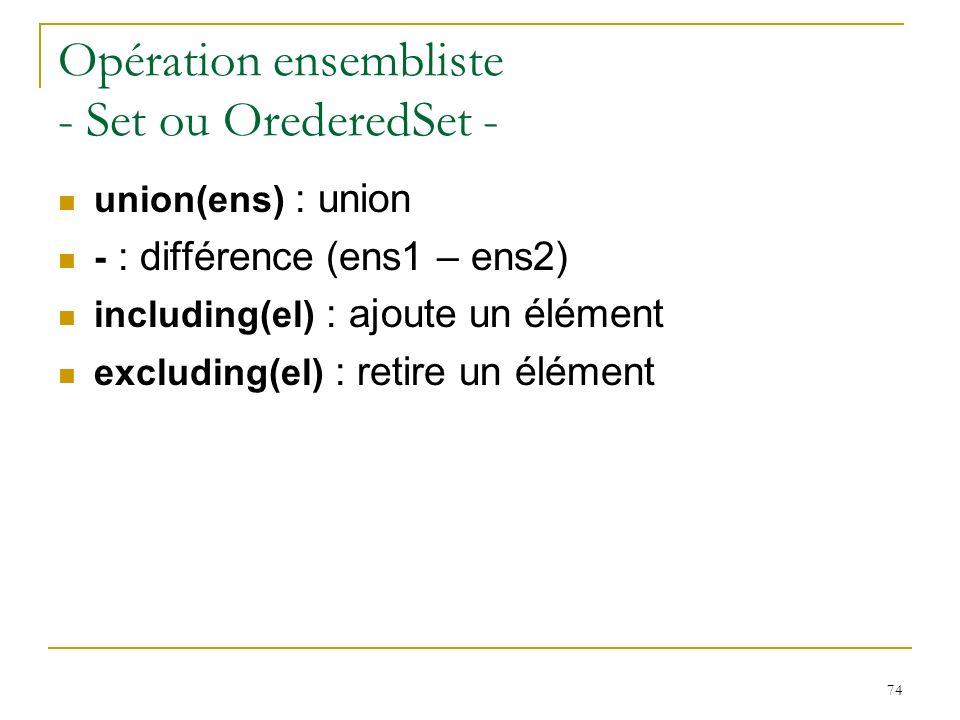 74 Opération ensembliste - Set ou OrederedSet - union(ens) : union - : différence (ens1 – ens2) including(el) : ajoute un élément excluding(el) : reti
