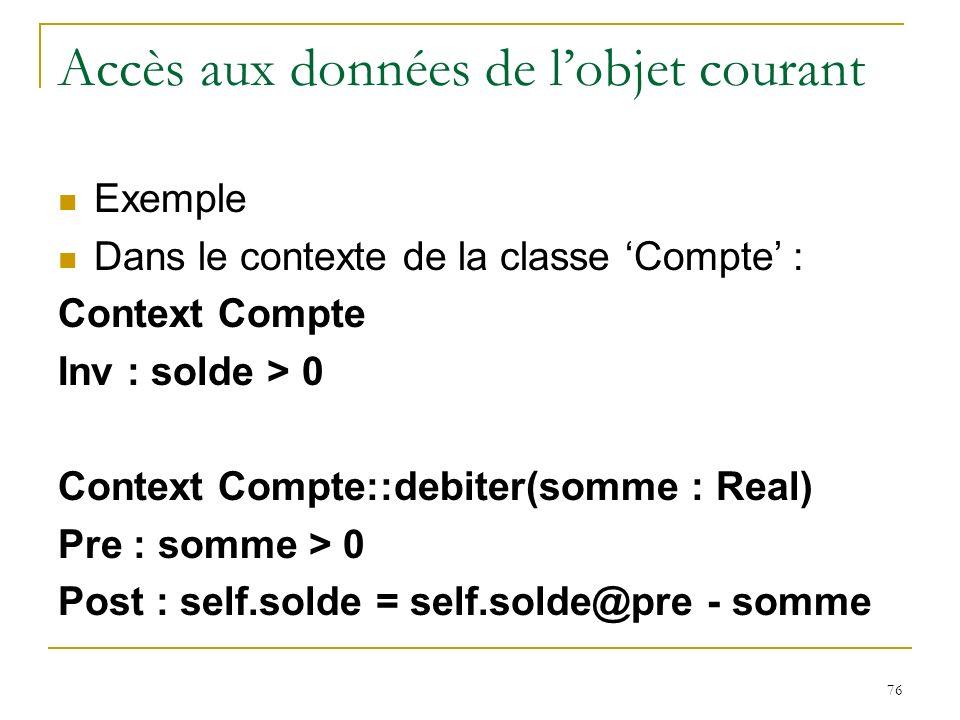 76 Accès aux données de lobjet courant Exemple Dans le contexte de la classe Compte : Context Compte Inv : solde > 0 Context Compte::debiter(somme : R