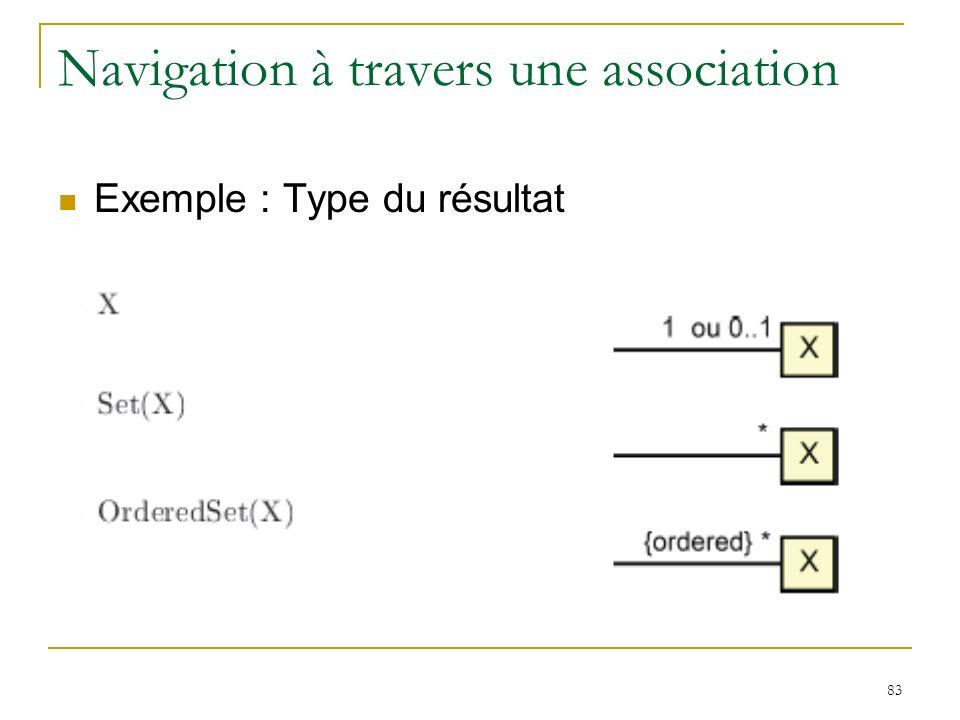 83 Navigation à travers une association Exemple : Type du résultat
