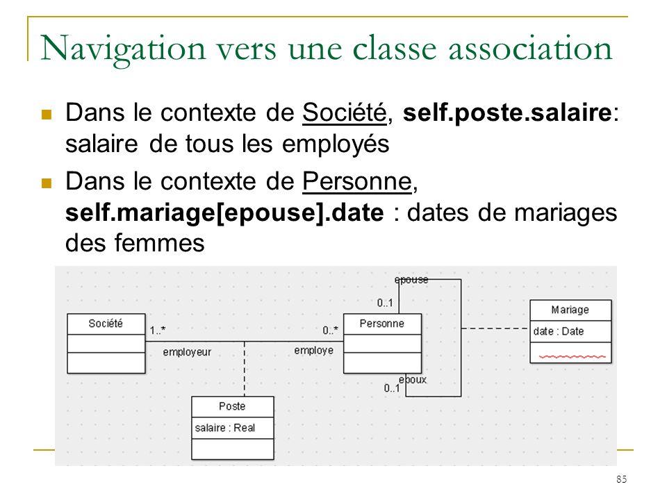 85 Navigation vers une classe association Dans le contexte de Société, self.poste.salaire: salaire de tous les employés Dans le contexte de Personne,