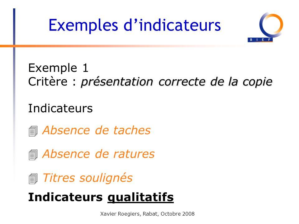 Xavier Roegiers, Rabat, Octobre 2008 Exemple 1 présentation correcte de la copie Critère : présentation correcte de la copie Exemples dindicateurs 4 A