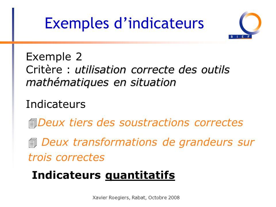 Xavier Roegiers, Rabat, Octobre 2008 Exemple 2 utilisation correcte des outils mathématiques en situation Critère : utilisation correcte des outils ma