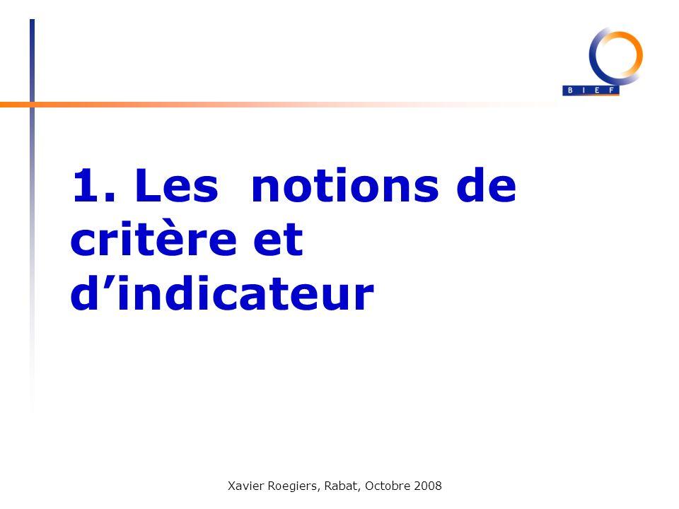 Xavier Roegiers, Rabat, Octobre 2008 1. Les notions de critère et dindicateur