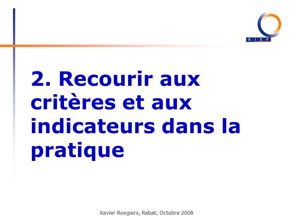 Xavier Roegiers, Rabat, Octobre 2008 2. Recourir aux critères et aux indicateurs dans la pratique