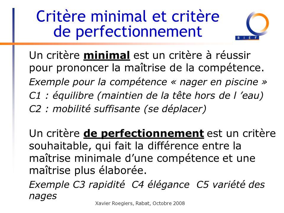 Xavier Roegiers, Rabat, Octobre 2008 Un critère minimal est un critère à réussir pour prononcer la maîtrise de la compétence. Exemple pour la compéten