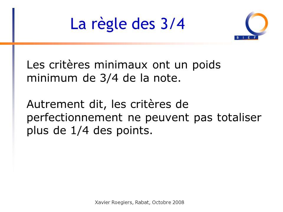 Xavier Roegiers, Rabat, Octobre 2008 Les critères minimaux ont un poids minimum de 3/4 de la note. Autrement dit, les critères de perfectionnement ne