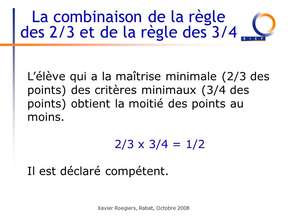 Xavier Roegiers, Rabat, Octobre 2008 Lélève qui a la maîtrise minimale (2/3 des points) des critères minimaux (3/4 des points) obtient la moitié des p