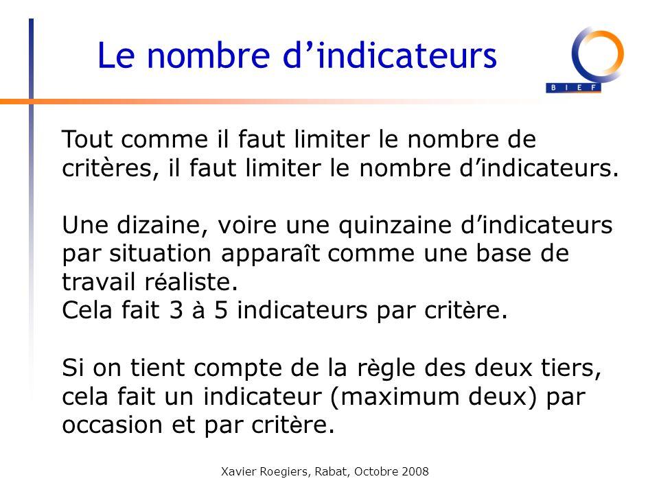 Xavier Roegiers, Rabat, Octobre 2008 Tout comme il faut limiter le nombre de critères, il faut limiter le nombre dindicateurs. Une dizaine, voire une