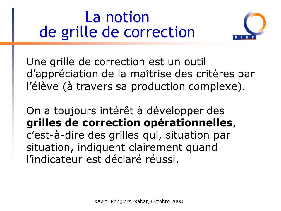 Xavier Roegiers, Rabat, Octobre 2008 La notion de grille de correction Une grille de correction est un outil dappréciation de la ma î trise des critèr