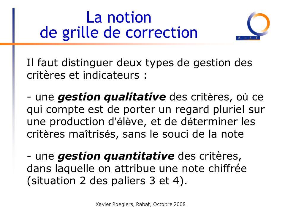 Xavier Roegiers, Rabat, Octobre 2008 La notion de grille de correction Il faut distinguer deux types de gestion des critères et indicateurs : - une ge