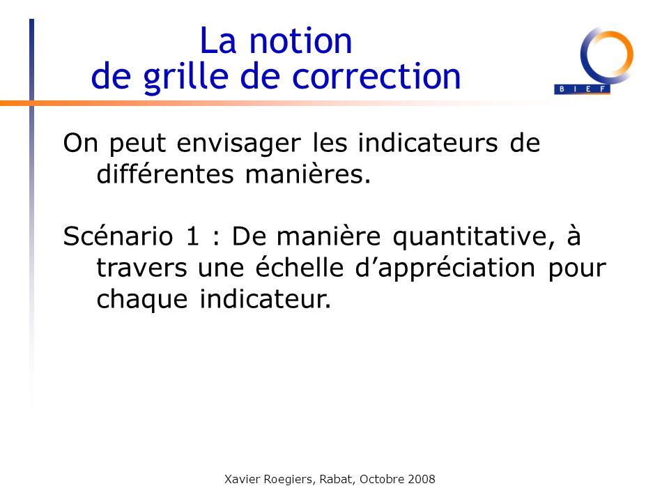 Xavier Roegiers, Rabat, Octobre 2008 On peut envisager les indicateurs de différentes manières. Scénario 1 : De manière quantitative, à travers une éc