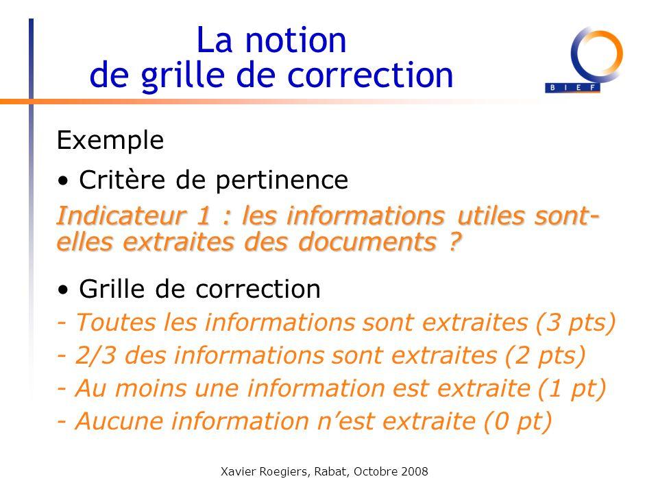 Xavier Roegiers, Rabat, Octobre 2008 La notion de grille de correction Critère de pertinence Indicateur 1 : les informations utiles sont- elles extrai