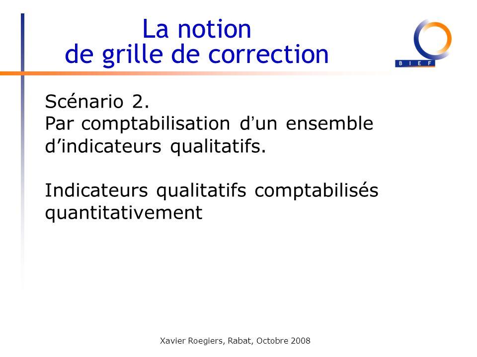 Xavier Roegiers, Rabat, Octobre 2008 Scénario 2. Par comptabilisation d un ensemble dindicateurs qualitatifs. Indicateurs qualitatifs comptabilisés qu