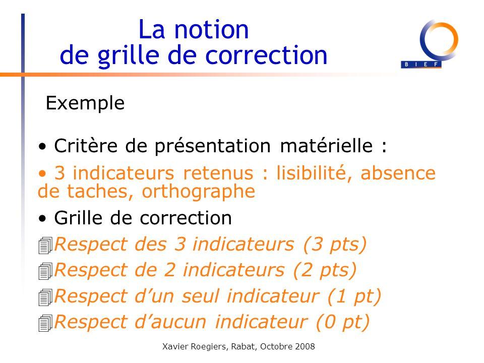 Xavier Roegiers, Rabat, Octobre 2008 La notion de grille de correction Critère de présentation matérielle : 3 indicateurs retenus : lisibilité, absenc