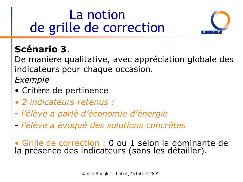 Xavier Roegiers, Rabat, Octobre 2008 La notion de grille de correction Scénario 3. De manière qualitative, avec appréciation globale des indicateurs p