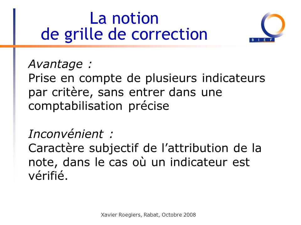 Xavier Roegiers, Rabat, Octobre 2008 Avantage : Prise en compte de plusieurs indicateurs par critère, sans entrer dans une comptabilisation précise In