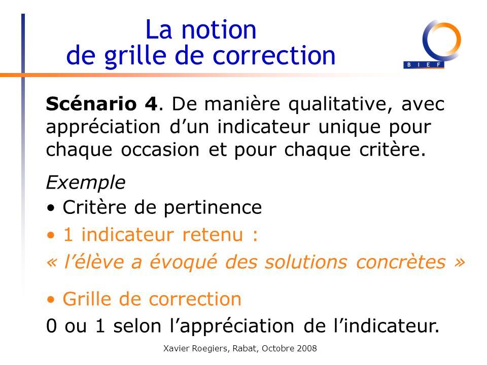 Xavier Roegiers, Rabat, Octobre 2008 Scénario 4. De manière qualitative, avec appréciation dun indicateur unique pour chaque occasion et pour chaque c