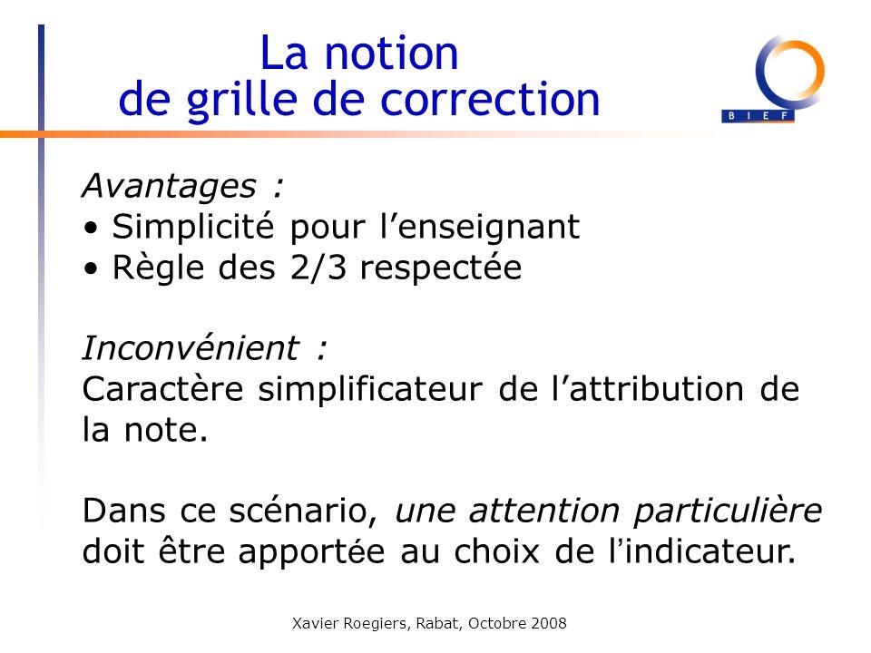 Xavier Roegiers, Rabat, Octobre 2008 Avantages : Simplicité pour lenseignant Règle des 2/3 respectée Inconvénient : Caractère simplificateur de lattri