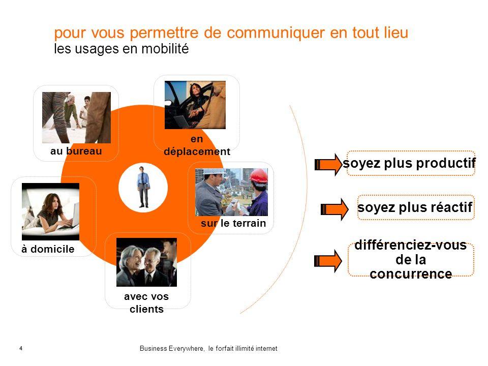 4 Business Everywhere, le forfait illimité internet 4 pour vous permettre de communiquer en tout lieu les usages en mobilité soyez plus réactif soyez