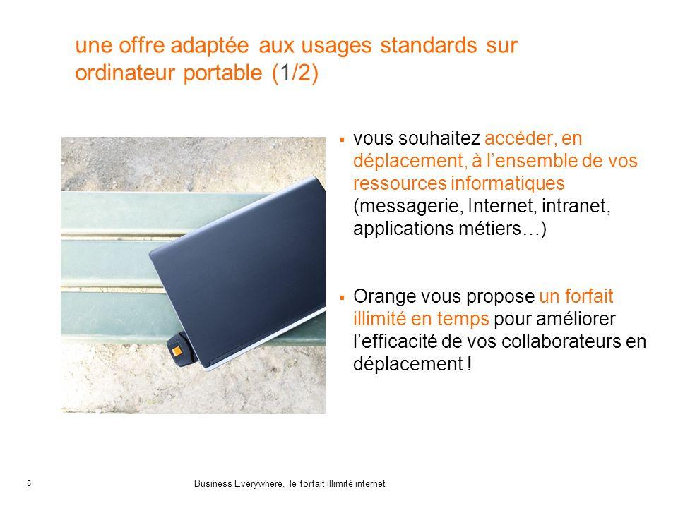 5 Business Everywhere, le forfait illimité internet une offre adaptée aux usages standards sur ordinateur portable (1/2) vous souhaitez accéder, en dé
